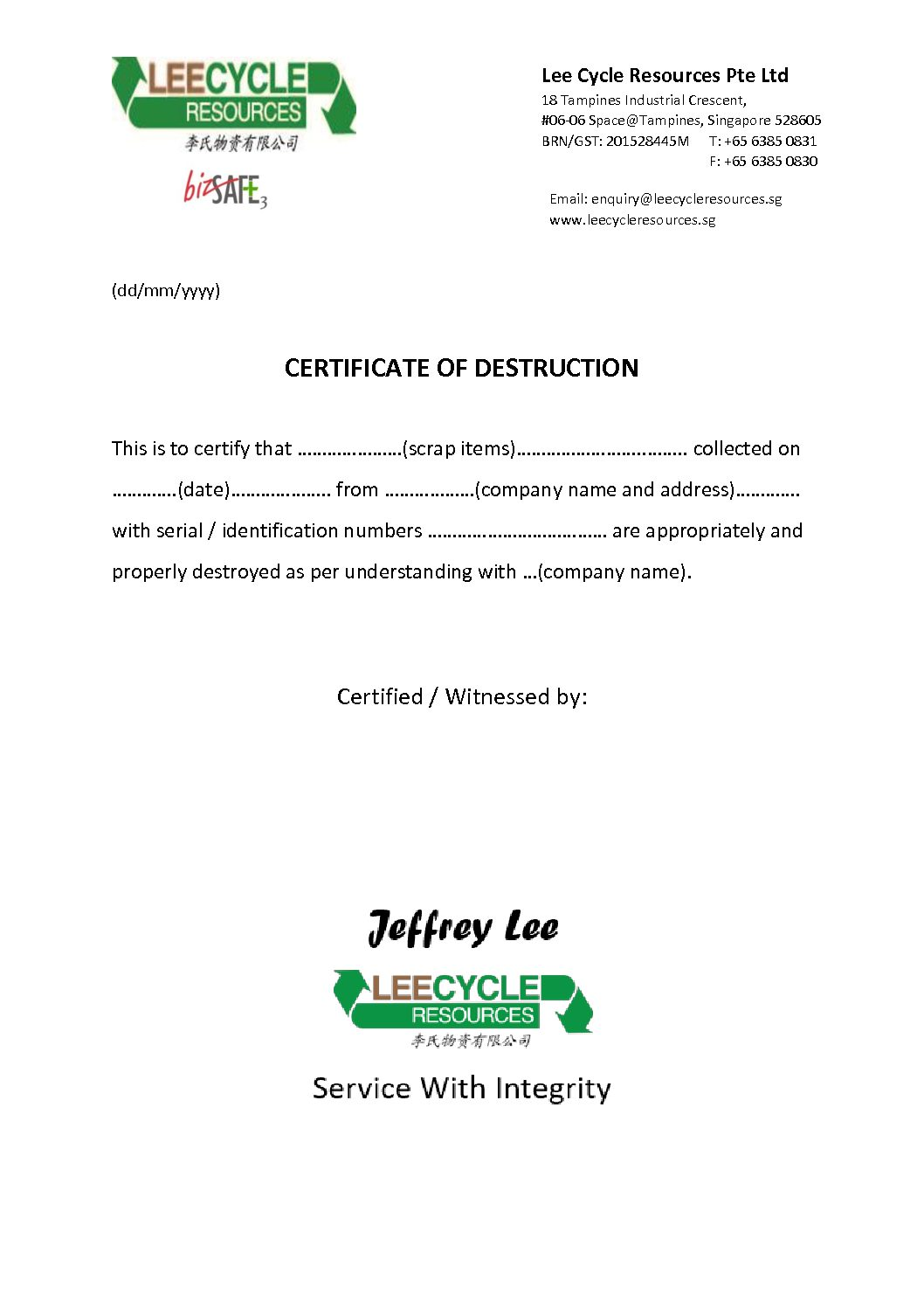 Certificate of destruction leecycle resources singapore for Certificate of disposal template